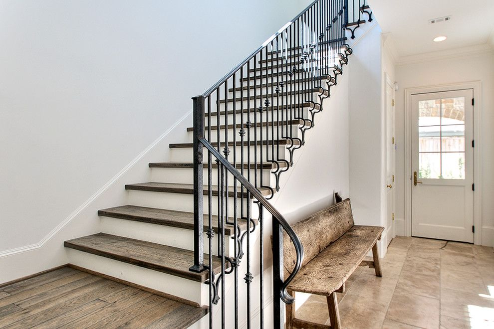 Best Wrought Iron Stair Railing Staircase Transitional With Baseboards Entrance Entry Metal Railing 400 x 300