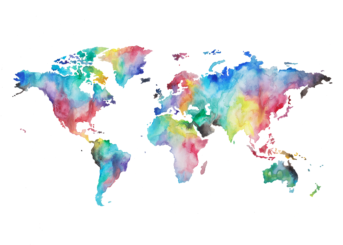 Image result for watercolor world map