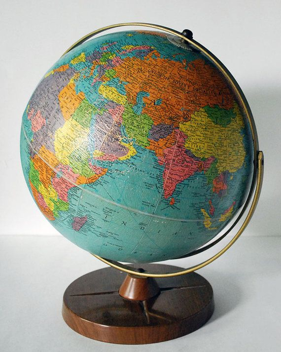 1950s Replogle Globe 12 inch Vintage Reference Earth Geography Full ...