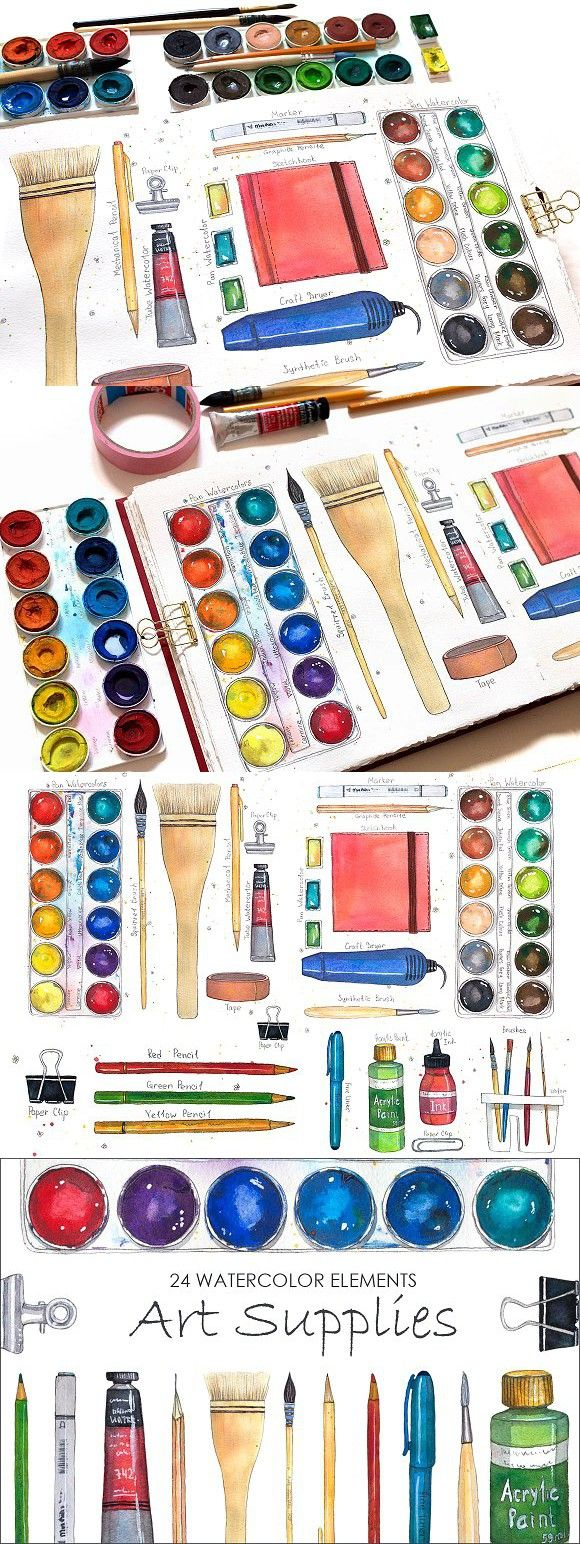 Art Supplies Watercolor Elements Art Pencil Design Art Supplies