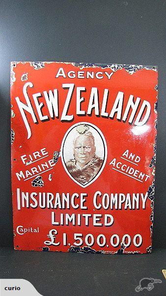 Antique C1910 New Zealand Insurance Enamel Sign Vintage