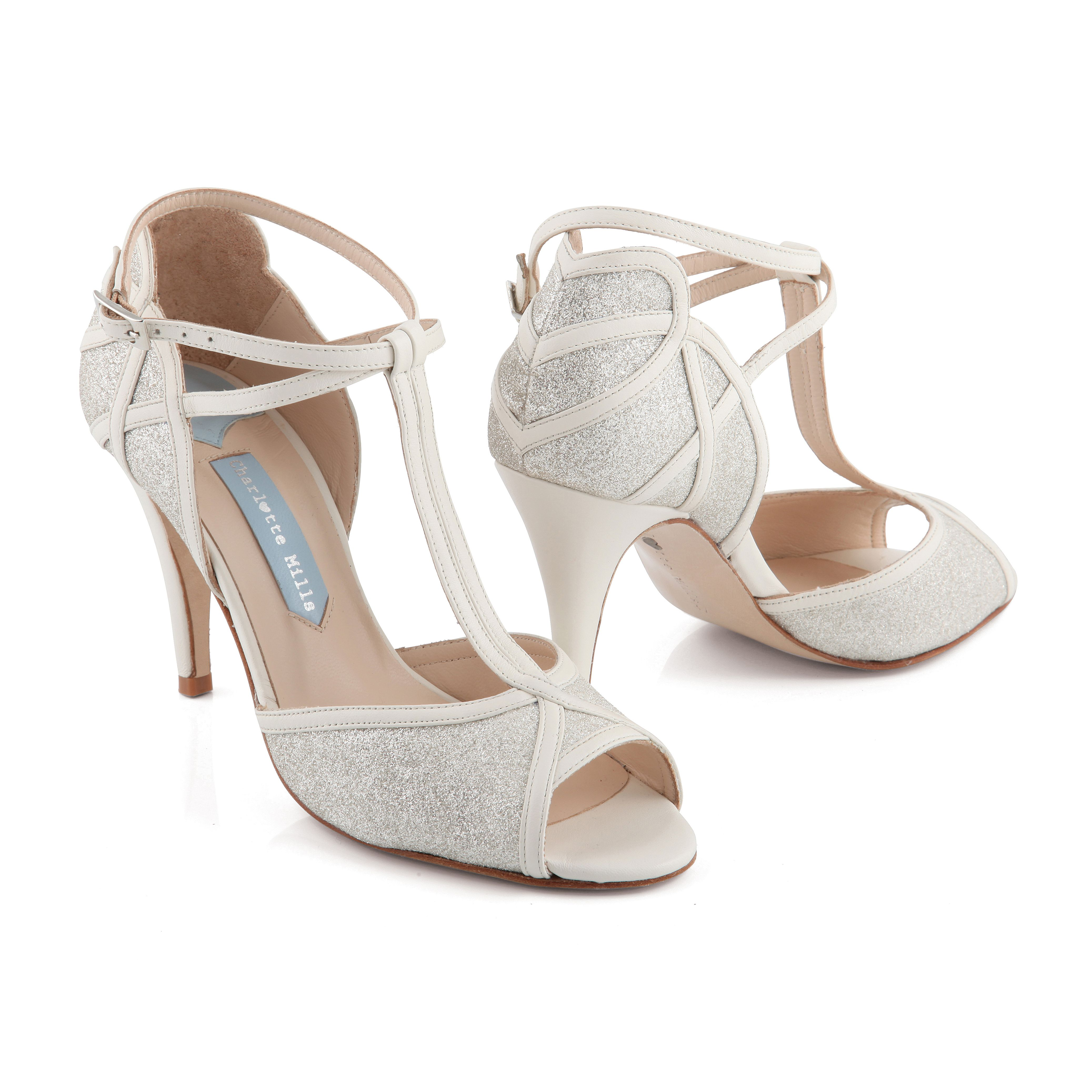 Betty wedding shoes by Charlotte Mills Leather and Glitter T bar