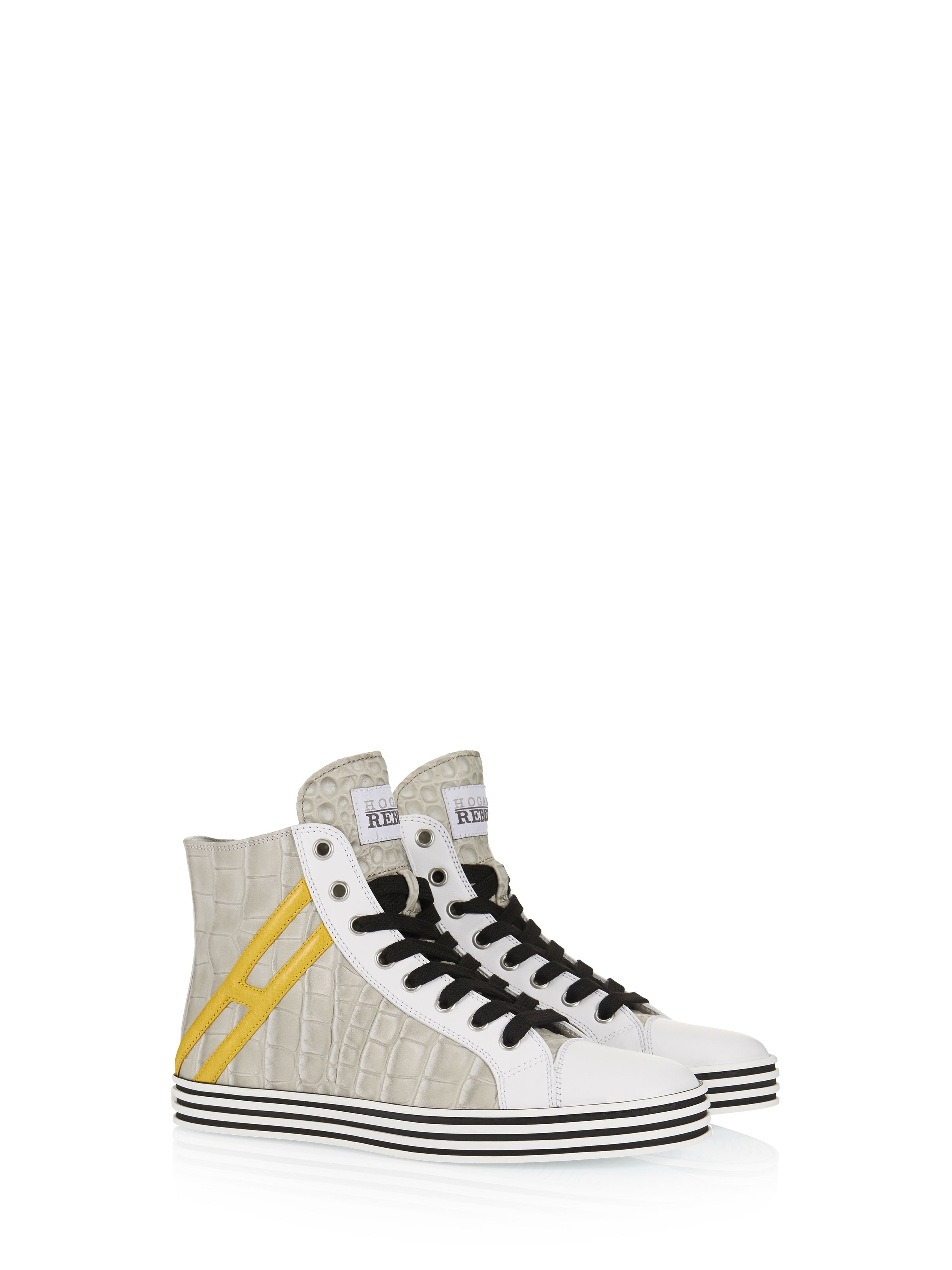 e1b7d0fa99b Hogan Rebel - R141 - HXW141095635UR574W - Croc-effect leather high-top  sneakers with