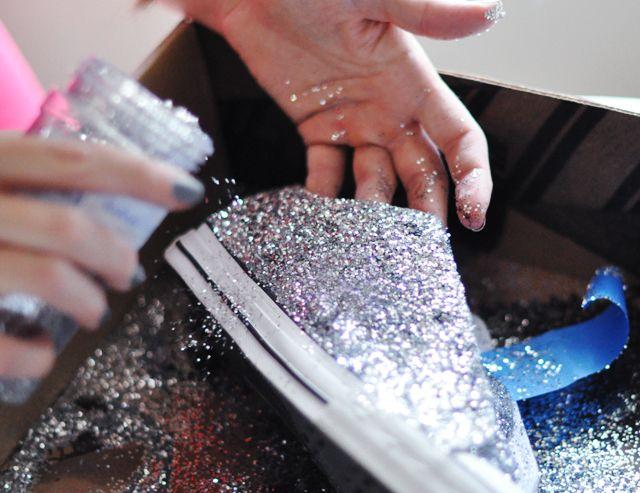 DIY Glitter Shoes using just a paintbrush, glitter & Mod Podge