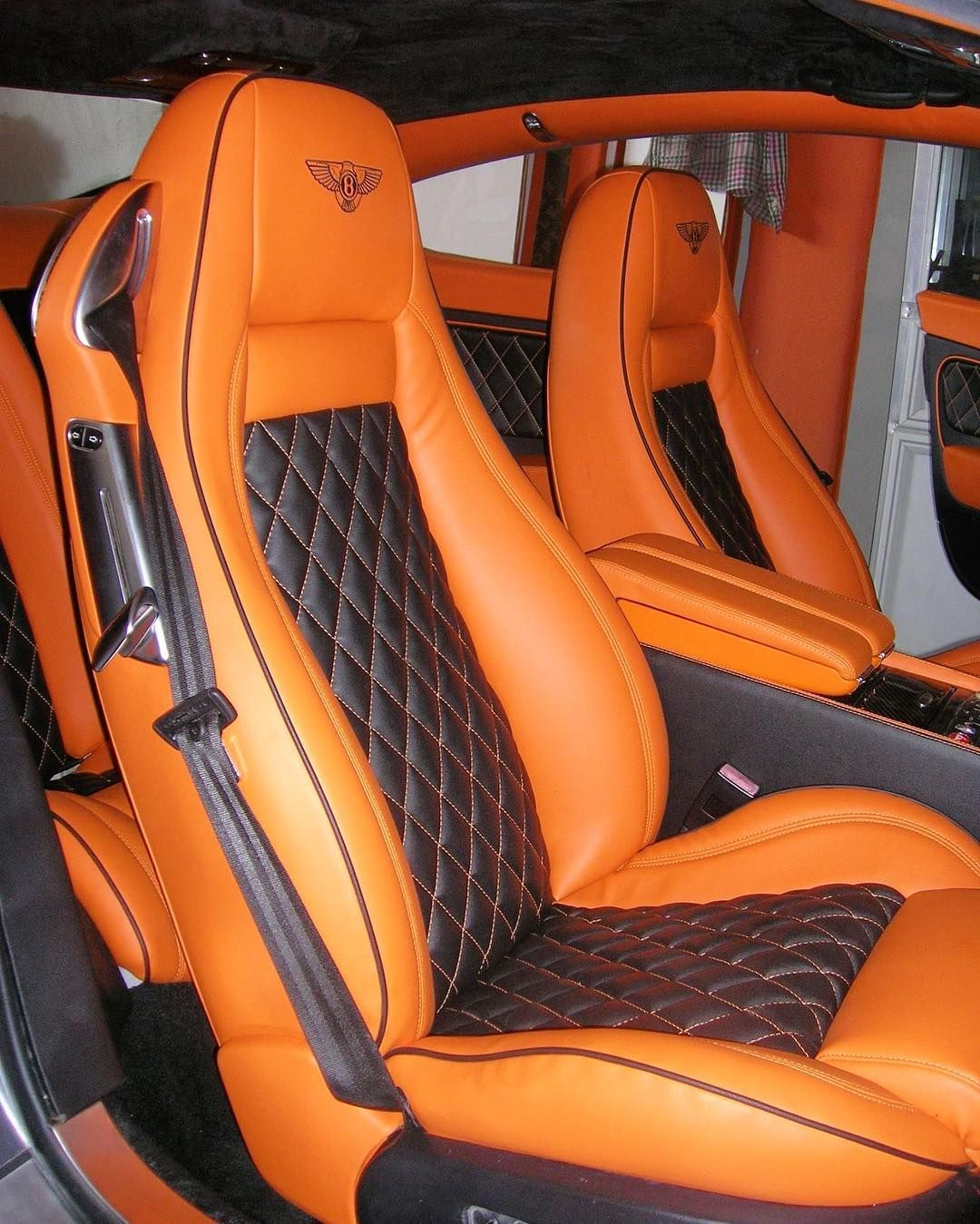 Bentley Continental Gt Custom Interior Orange And Black Diamond Stitch Seats And Door Panels Car Upholstery Car Interior Upholstery Leather Car Seat Covers
