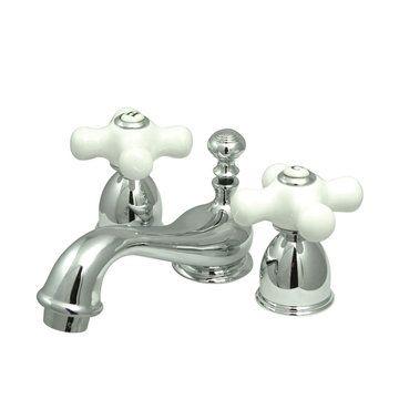 Restorers Mini Widespread Adjustable Lavatory Faucet - Porcelain ...