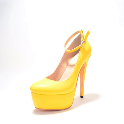 78.00$  Watch here - http://alivc1.worldwells.pw/go.php?t=32328851716 - Sweet Gold Color Woman Pumps With Thin High Heels And Thicken Platform Ankle-Wrap Buckle Simple Handmade 2015 Ladies Shoes PU
