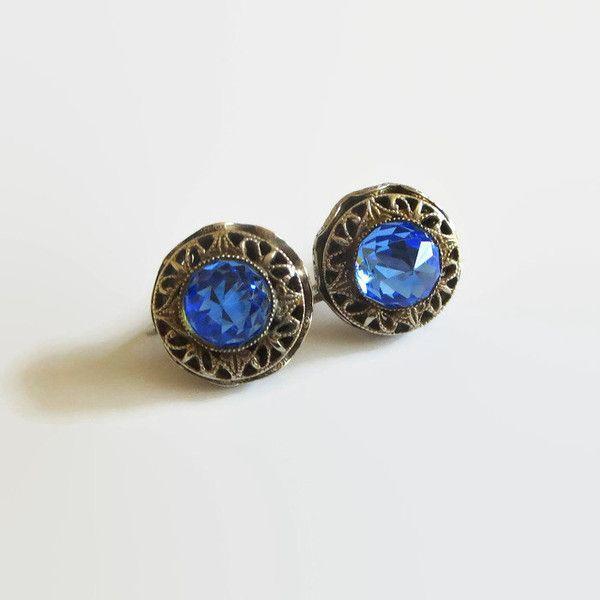 Blue Rhinestone Earrings, Vintage Deep Blue Briolette Rhinestones... (60 ILS) ❤ liked on Polyvore featuring jewelry and earrings