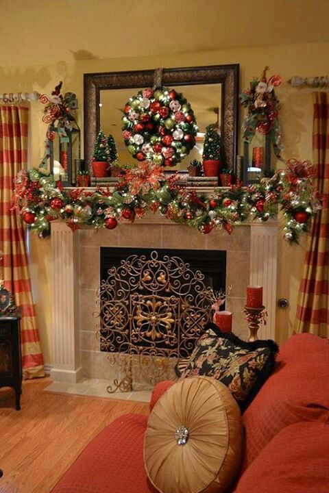 My fall mantel with a warm glow Christmas mantels, Mantels and - christmas fireplace decor