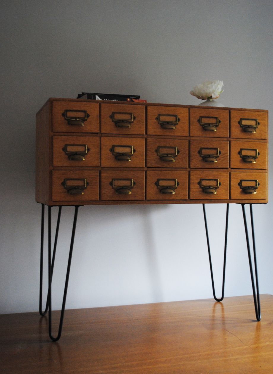 Vintage Sideboard Hairpin Legs Ex Library Index Cabinet With Steel Hairpin Legs Basement