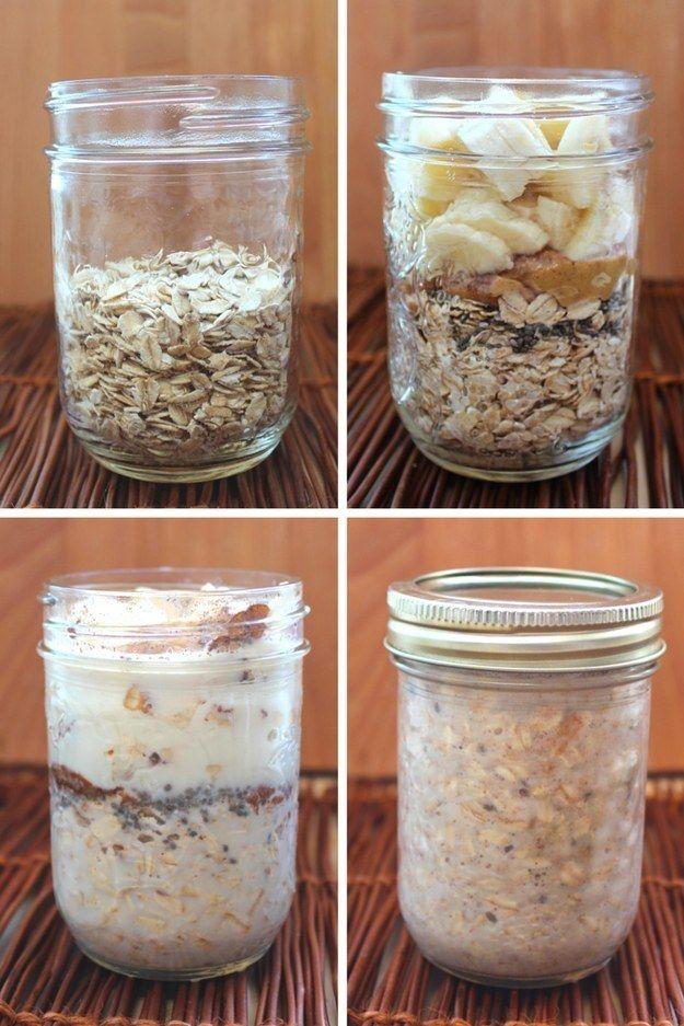 Shake and Go Peanut Butter Banana Overnight Oats -   12 fitness Lifestyle peanut butter ideas