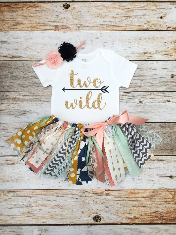 63c397e59 Second Birthday Coral Mint Navy and Gold 'Two Wild' Birthday Outfit with  Headband, Two Wild Second B