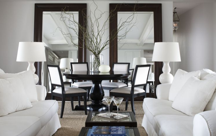 Dining Rooms White Gourd Lamps White Sofa Sisal Rug Black Tables Black Round Living Room And Dining Room Design Dining Room Design Mirror Dining Room
