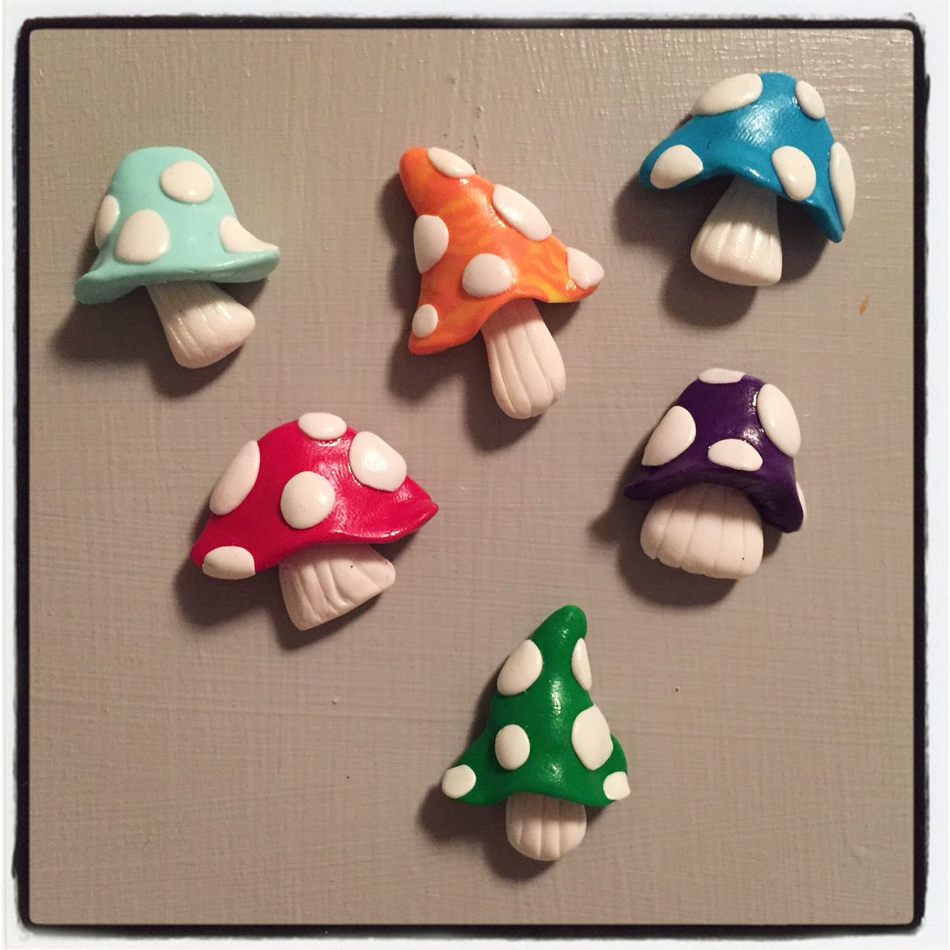 Polymer clay mushroom magnets! -By Tiny Things By Bowen