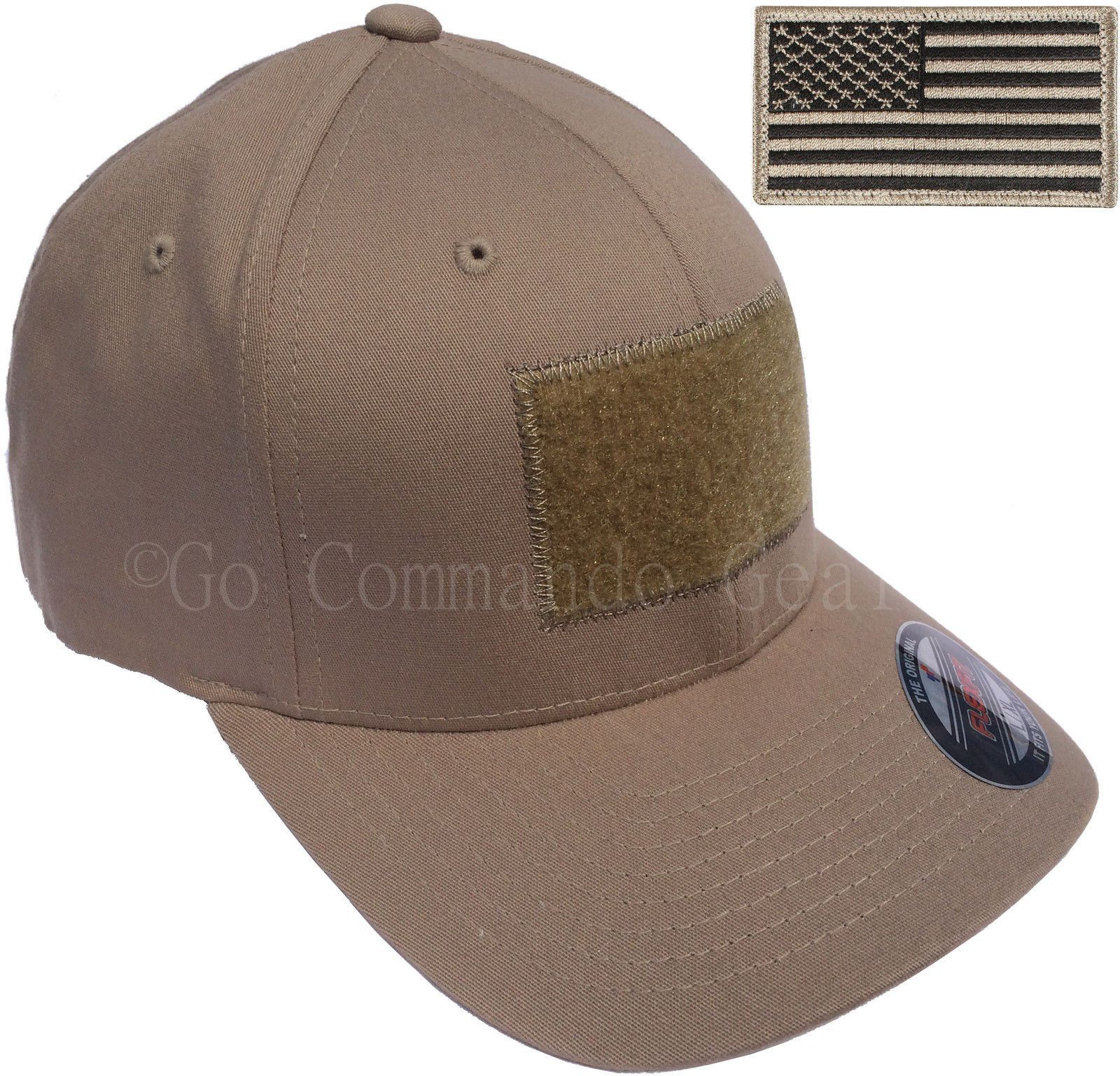 Men S Fitted 98 Cotton Flexfit Mid Profile Tactical Cap W Velcro Area And Patch Gorras