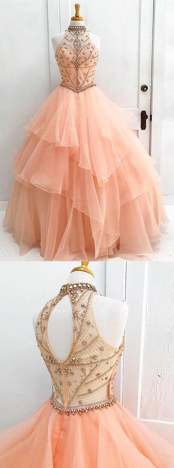 Ball gown high neck orange long tulle prom dress with beading