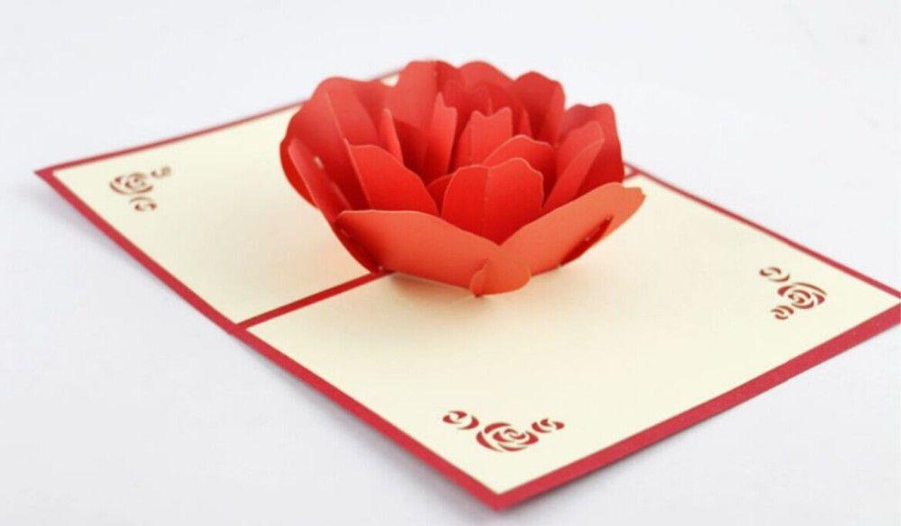 Aliexpress Com Buy Red Rose Pop Up Card 3d Kirigami Card Handmade Greeting Card Free Sh Pop Up Card Templates Birthday Card Pop Up Greeting Cards Handmade