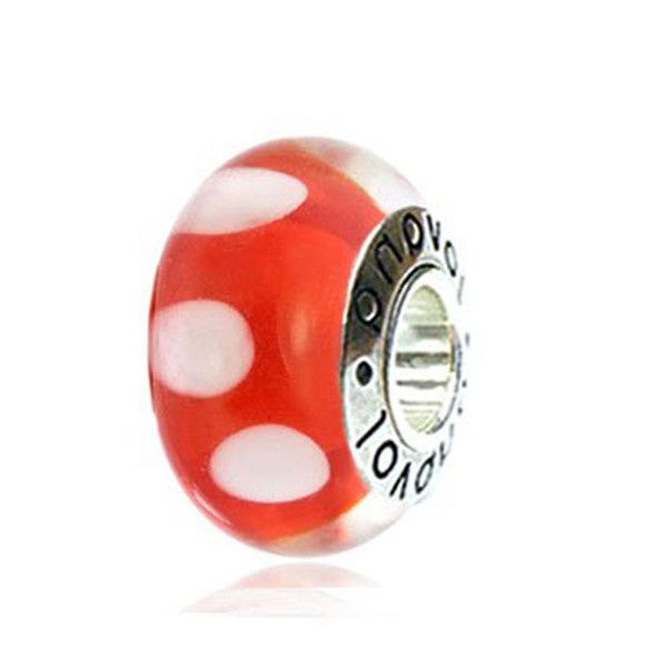 Red Murano Glass w/ White Dots #charms  #fashion