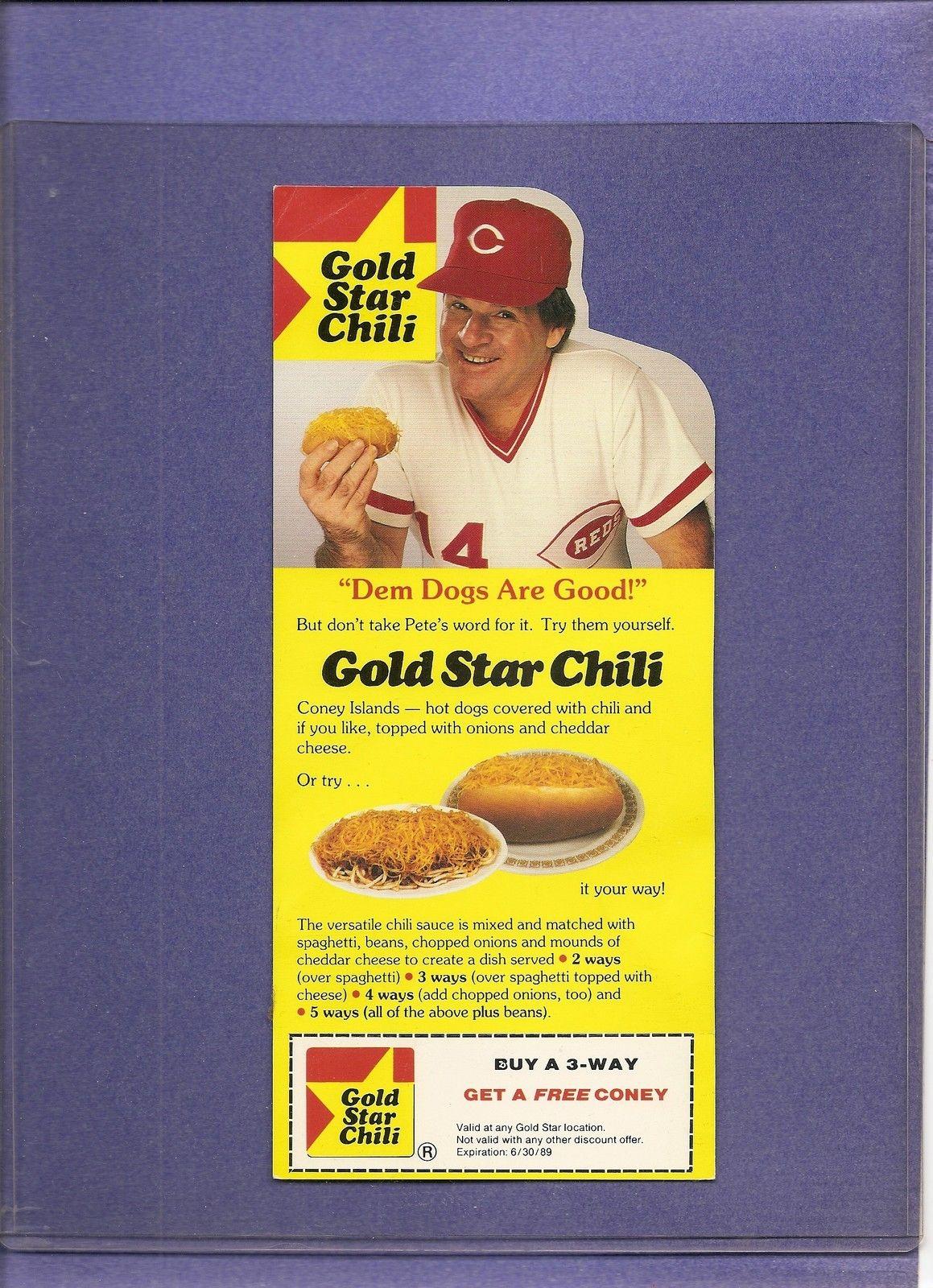 Pete Rose, Gold Star Chili Cincinnati reds baseball