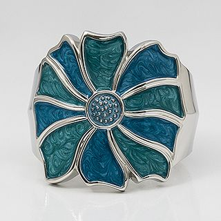 blue enamel rose bangle