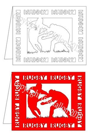 Rugby Players Blank Card Template Cutting Machine File On