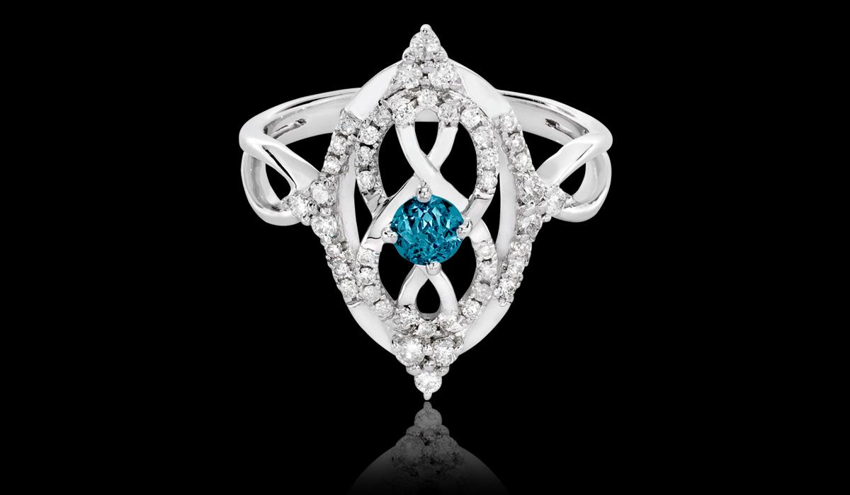 Crown Of Light Blue Diamond; Proprietary Cut From Diamonds International
