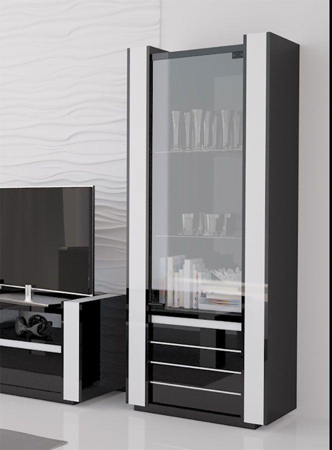 Vitrine Lumineuse Noir Et Blanc Laque Design Katarine Salle A Manger Blanche Meuble Rangement Meuble Design