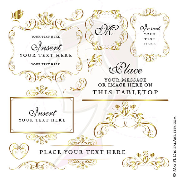 Gold Frame Wedding Digital Clipart Diy Program Invitation Craft