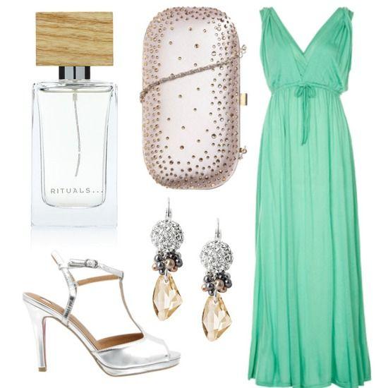 vestido largo para boda de tarde en verde menta | ropita y zapatos