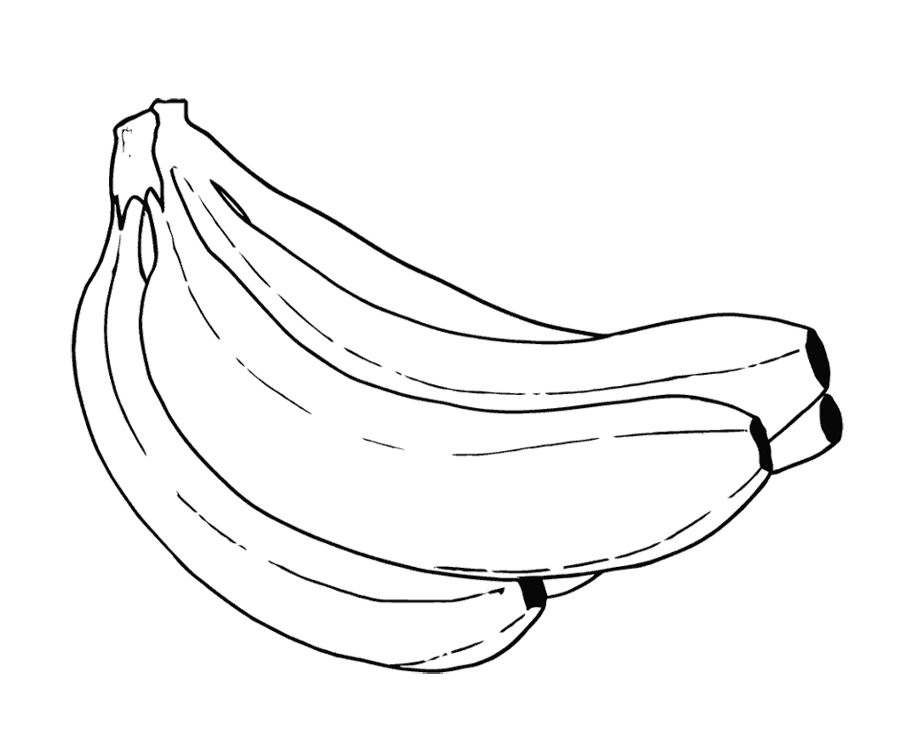 A Sweet Banana And Fresh Coloring Page For Kids | FOOD COLORING ...