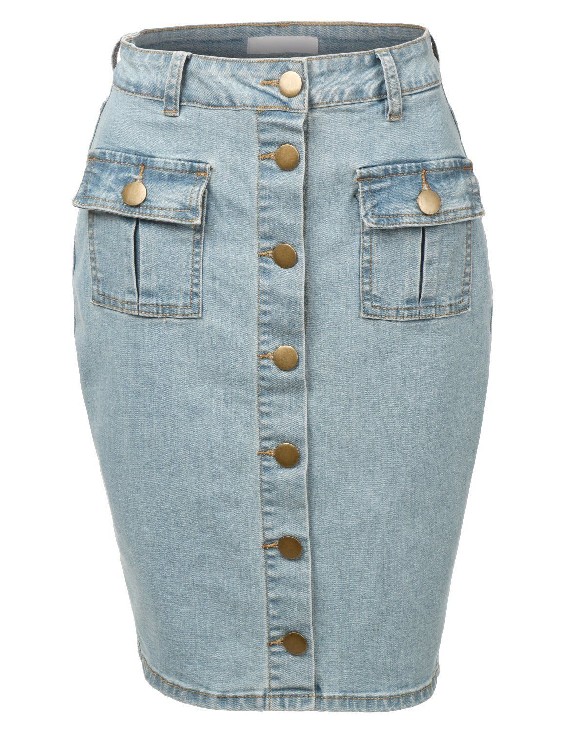 773213874 RubyK Womens High Waisted Denim Pencil Skirt with Stretch at Amazon Women's  Clothing store: