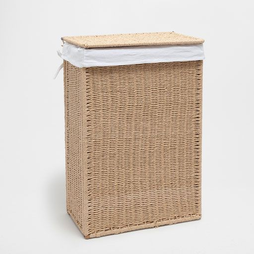 Natural-coloured laundry basket with fabric lining