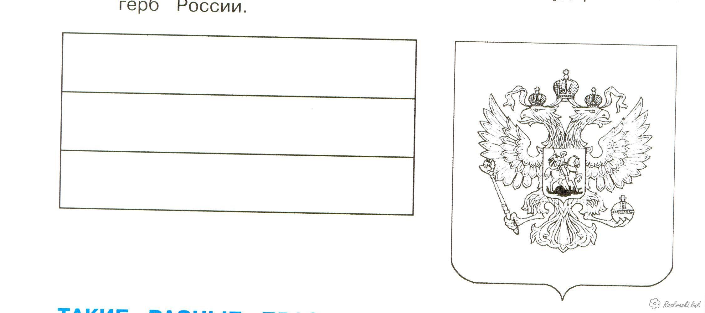 Флаг и герб россии картинки для раскрашивания