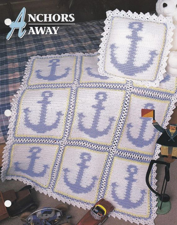 Anchors Away Annies Crochet Quilt Afghan Pattern Club Leaflet
