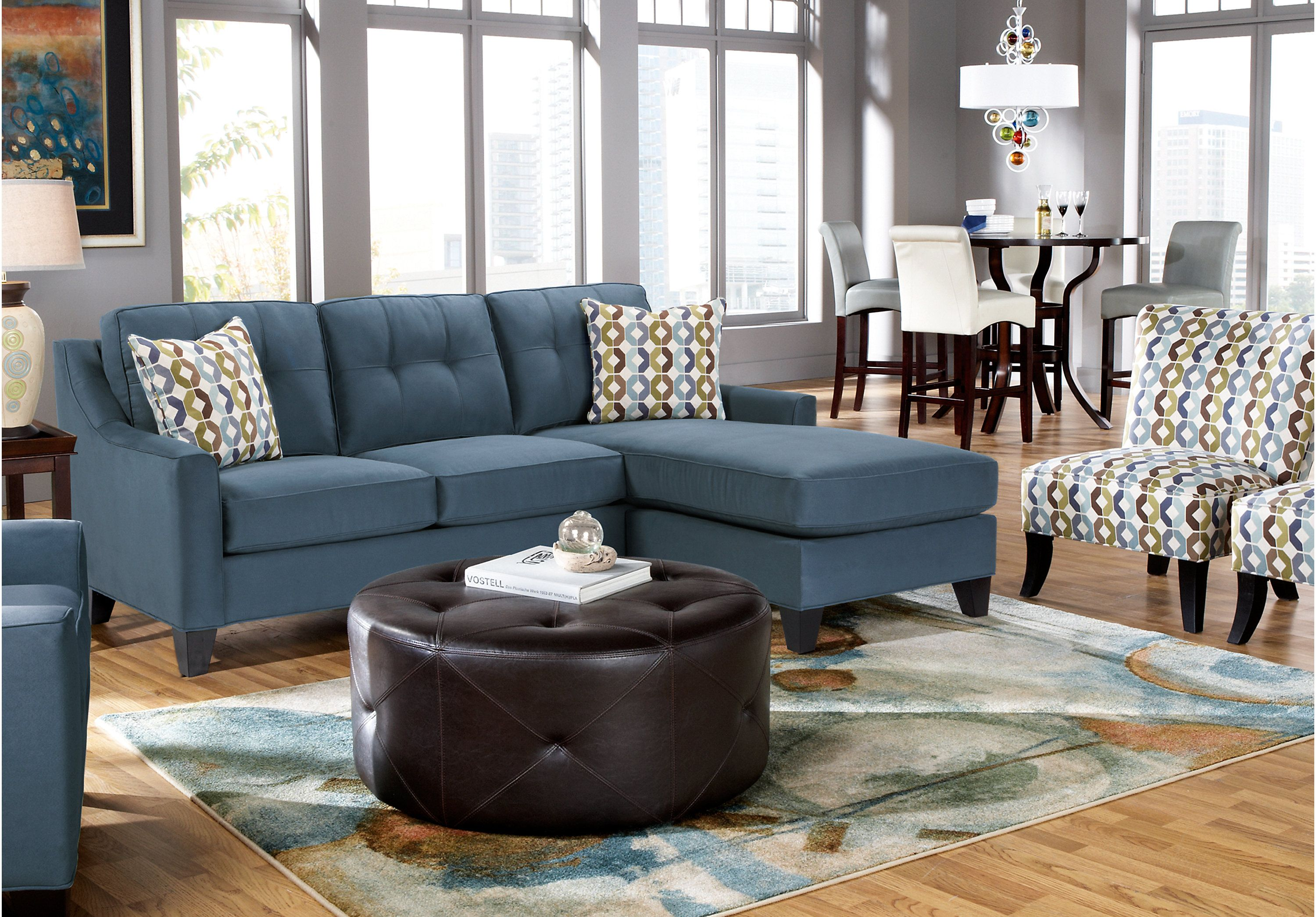 Picture Of Cindy Crawford Madison Place Indigo 2Pc Sectional From  Sectionals Furniture