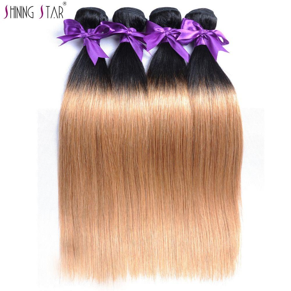 TB Honey Blonde Ombre Brazilian Hair Weave Bundles Straight