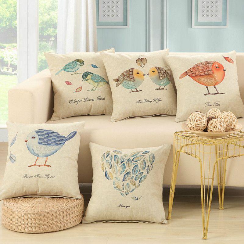 En Gros 5 Couleurs Bel Oiseau Decoratif Housses De Coussin Pour Canape Chaise De Bureau Coussin De Voiture Co Coussins De Luxe Canape Vintage Coussin Decoratif