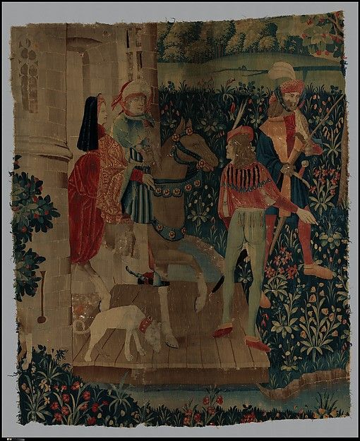 A Hunting Party Leaving a Castle (From Incidents in a Stag Hunt) Date: ca. 1495–1515 Culture: South Netherlandish Medium: Wool warp, wool wefts Dimensions: Overall: 94 x 78in. (238.8 x 198.1cm) Classification: Textiles-Tapestries