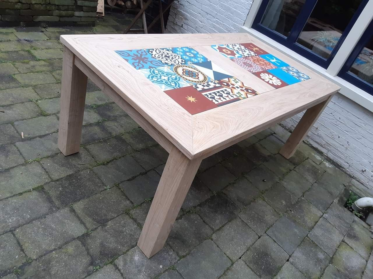 Oak Garden Table With Portugese Tiled Tabletop