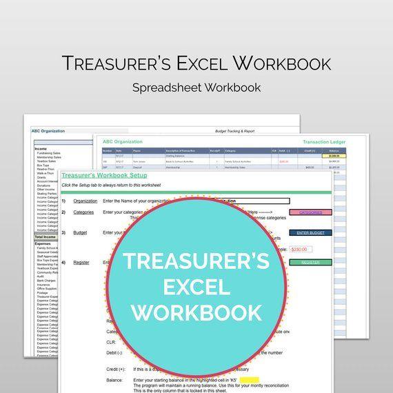 pta pto treasurers excel workbook treasurer reporting tool for pta meetings with budget workbook