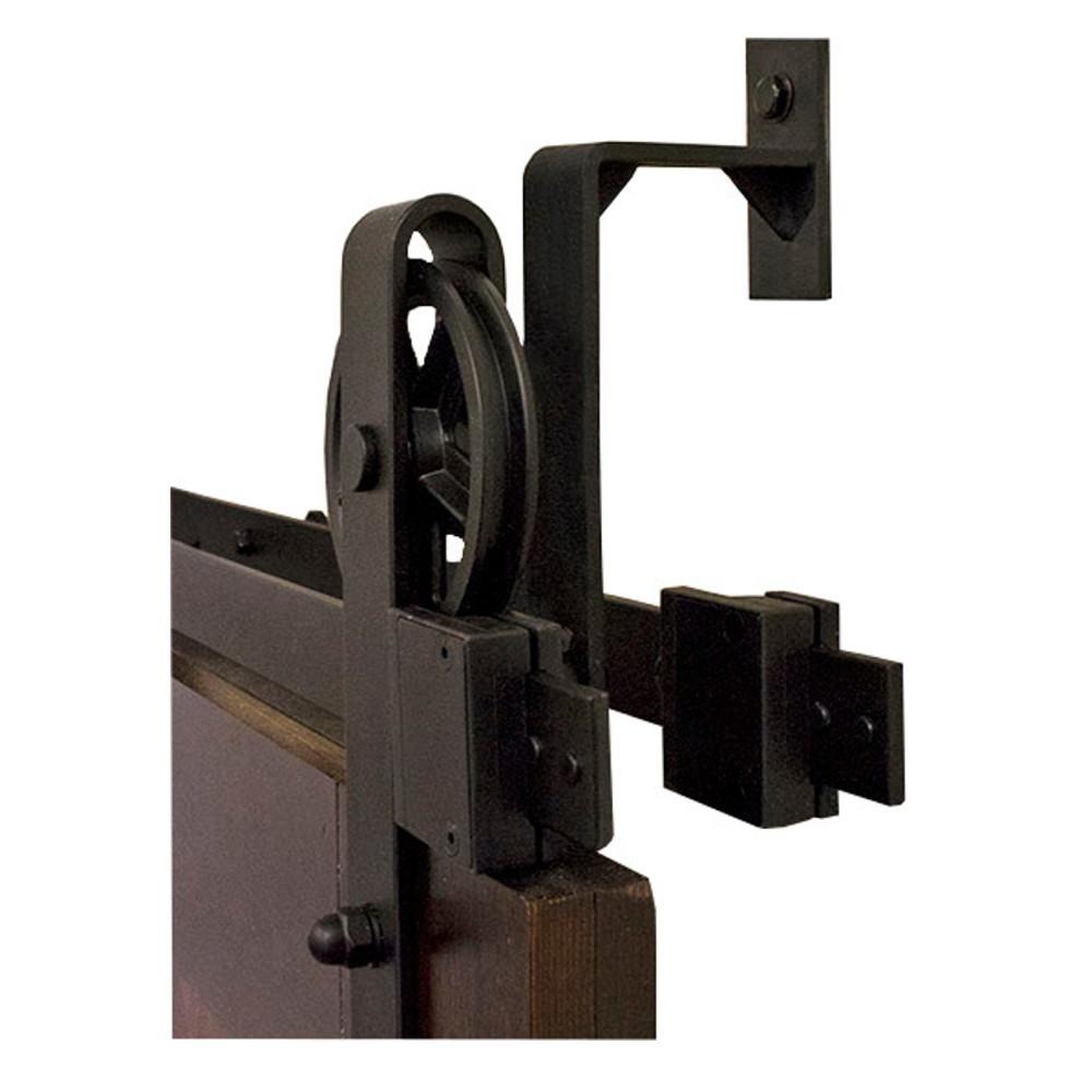 By Passing Hook Strap Black Rolling Barn Door Hardware Kit With 5 In Wheel Nt140008w08bp The Home Depot Barn Door Installation Barn Door Barn Door Kit