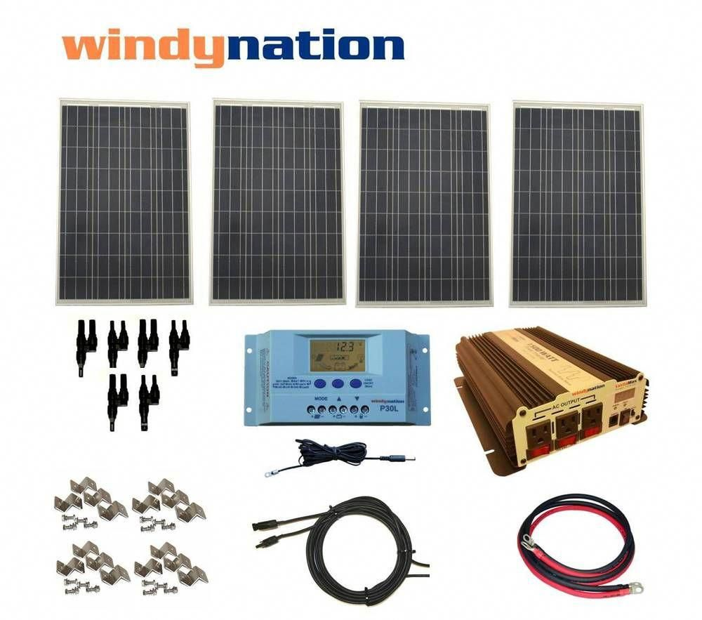 Complete Kit 400 W Watt 400w Solar Panel 1500w Inverter 12v Rv Boat Off Grid Home Garden Home Imp In 2020 Solar Panels For Home Solar Energy Panels Solar Panels