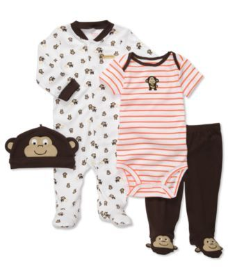 Carters Baby Set, Baby Boys 4 Piece Monkey Footed Coverall Set