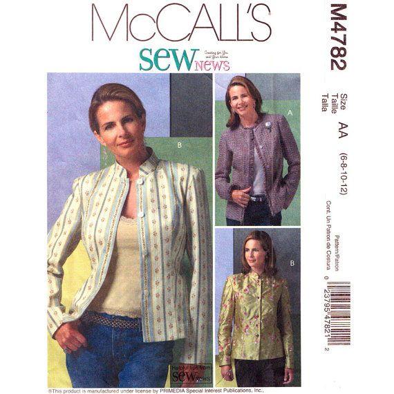 Womens Jacket Pattern McCalls 4782 Lined Jacket Mandarin Collar ...