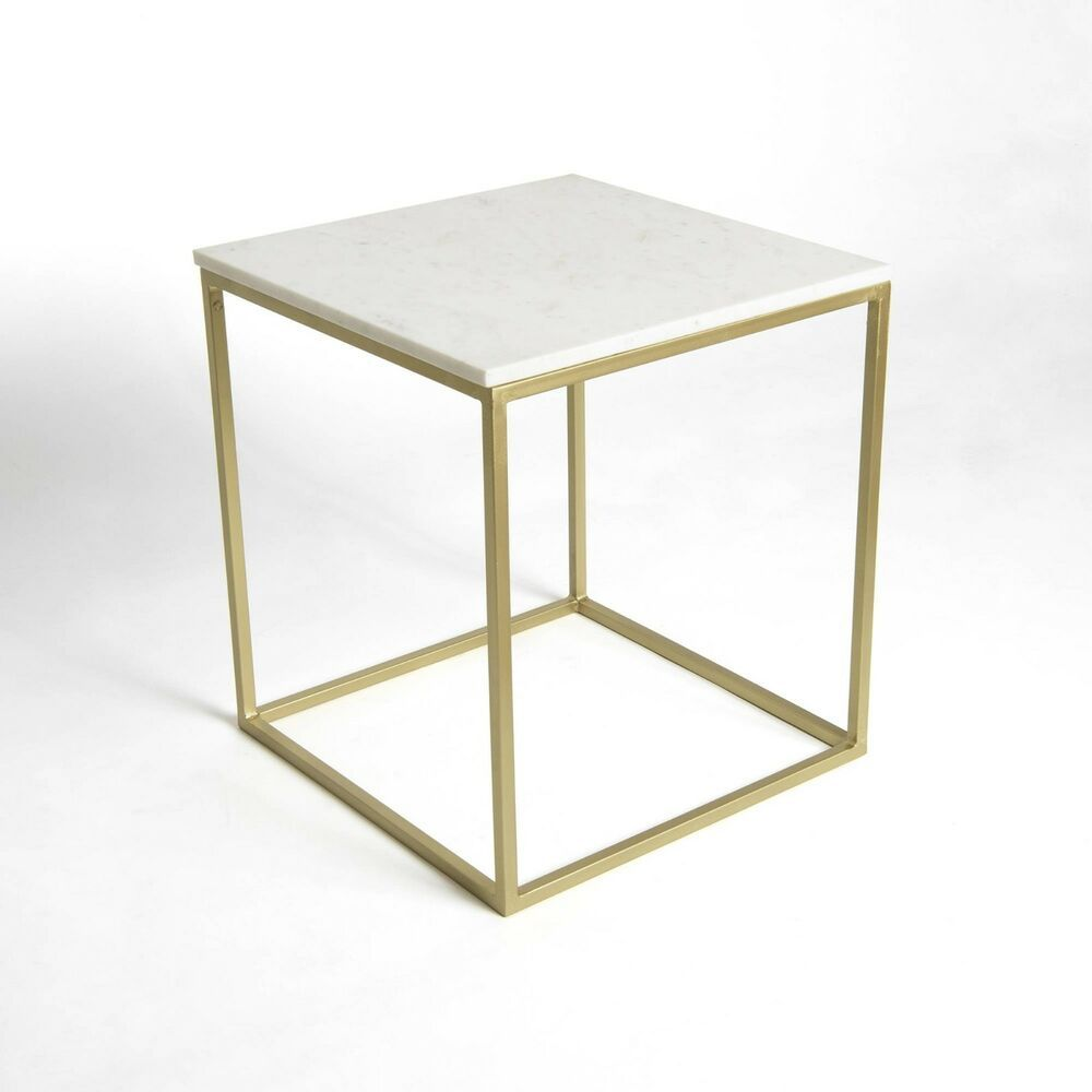 Square End Table White Marble Modern Coffee Side Living Room Couch