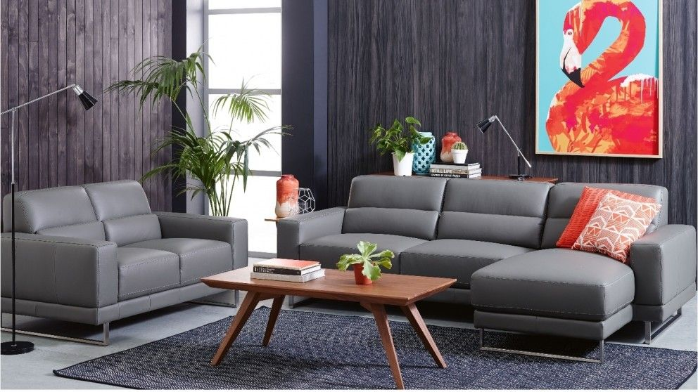 Jett 2 piece leather lounge suite lounges living room - Harvey norman living room furniture ...