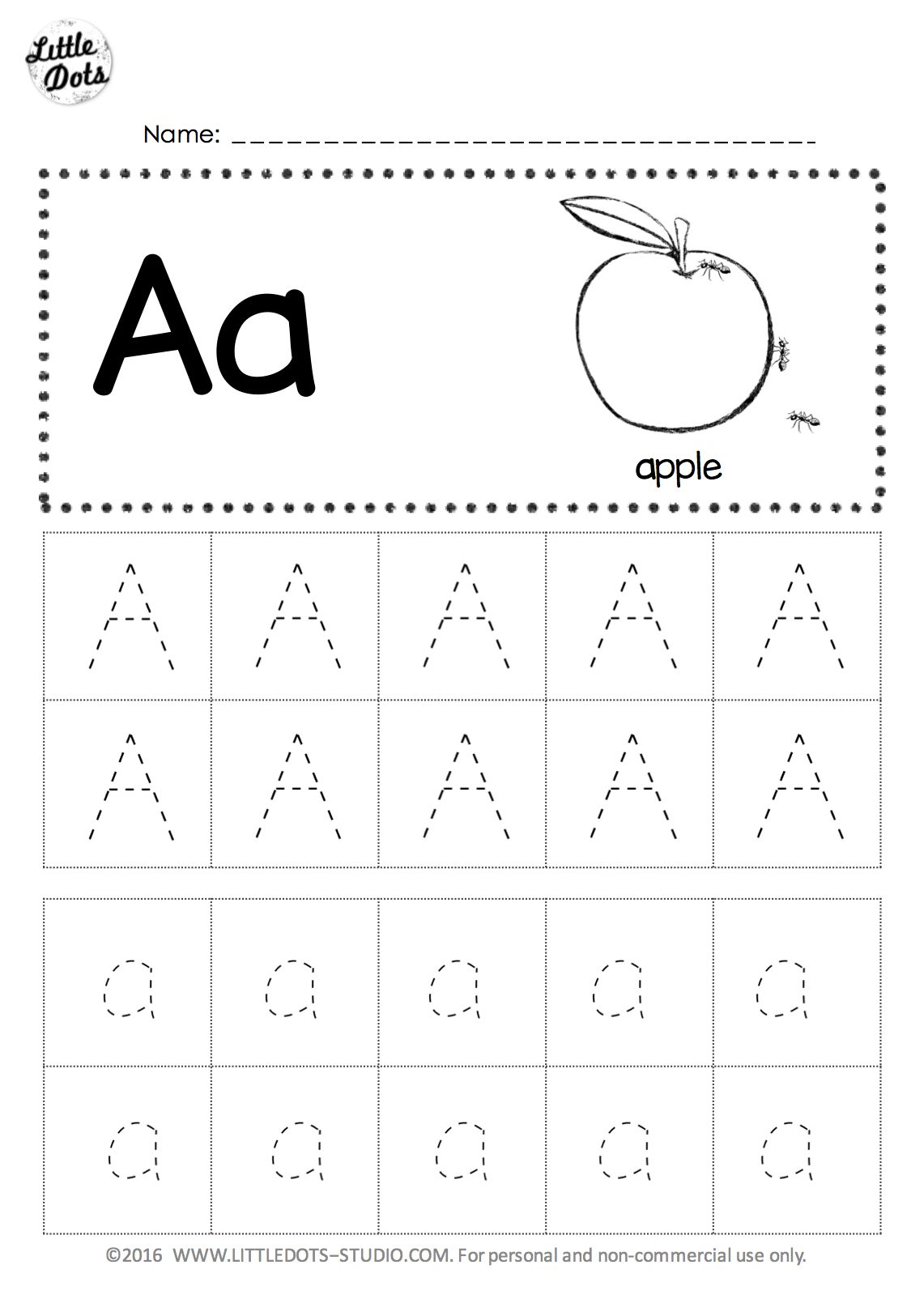 Free Letter A Tracing Worksheet Abc 39 S Letter Papers
