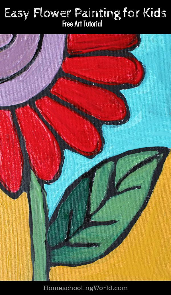 Free Art Tutorial Easy Flower Painting For Kids