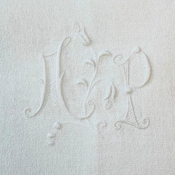 Antique French Linen Monogrammed AP Napkins Set of 6