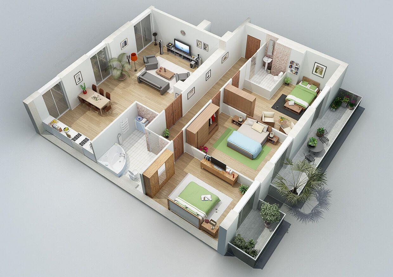 40 Amazing 3 Bedroom 3d Floor Plans Engineering Discoveries Denah Rumah Tata Letak Rumah Rumah Minimalis